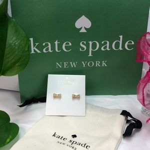 NWT KATE SPADE GOLD READY SET BOW STUD EARRINGS